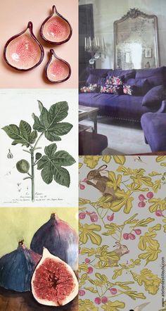 La figue, elle a tout pour elle ! De très belles couleurs, un délicieux parfum, une forme arrondie très agréable, tout un univers qui rappelle le soleil et la méditerranée, un arbre aux feuilles très esthétiques, et c'est un fruit de table royale ! De quoi décliner une tendance au sens large… Comment ne pas l'aimer ?