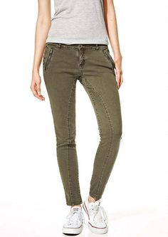Quinn Seamed Twill Pants in Green - Jeans - New Arrivals - dELiA*s College Girl Fashion, College Girls, Twill Pants, Khaki Pants, Green Jeans, Pants Outfit, Skinny Pants, How To Wear, Fashion Tips
