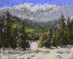 "Barbara Churchley Fine Art-Original Colorado Mountain Snow Pastel Landscape Painting ""September Snow"" by Western Colorado Artist Barbara Churchley-http://barbarachurchleyfineart.blogspot.com/2015/02/original-colorado-mountain-snow-pastel.html"