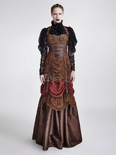 6368692a898 Women s Steampunk Dress Vintage Victorian Costume Party Dress Halloween
