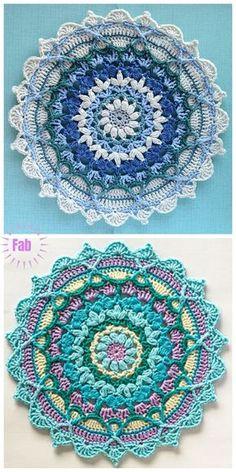 Motif Mandala Crochet, Crochet Square Patterns, Crochet Squares, Crochet Blanket Patterns, Knitting Patterns, Mandala Rug, Mandala Blanket, Granny Squares, Love Mandala