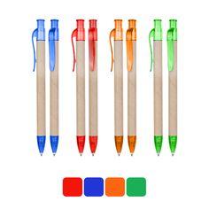 COD.EC004 Bolígrafo Ecológico de cartón reciclado, con terminales de color traslúcido. Escritura azul.