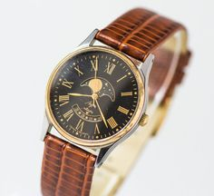 Black elegance unisex watch Moon phases quartz watch by SovietEra