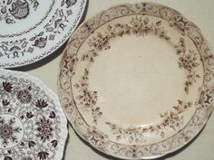 Old China Patterns antique & vintage brown transferware china plates lot, lovely old