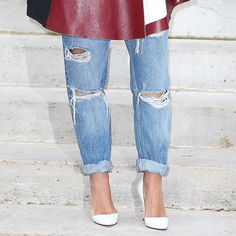 The roll-it-up cuff works best with boyfriend jeans, like this distressed True Religion pair ($198).
