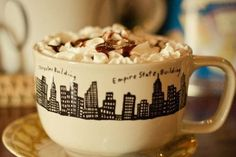 A nice cup of hot chocolate with whipped cream is perfect for a rainy day in New York City!