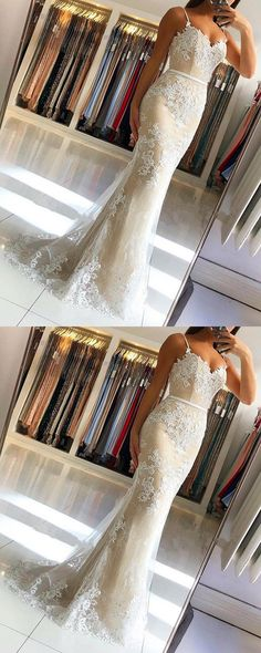 Spaghetti Straps Lace Embroidery Sweetheart Tulle Mermaid Prom Dresses