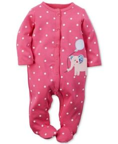 Carter's Baby Girls' Pink Elephant Coverall