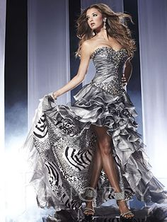 Stunning silver high-low prom dress