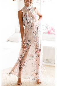 Sexy High Waist Printing Halter Split Vacation Dress