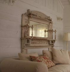 lovely mirror/fireplace mantel Reminds me of the one in my Grandma's home! Shabby Chic Shelves, Shabby Chic Cottage, Shabby Chic Decor, Cottage Style, Shabby Chic Furniture, Home Furniture, Painted Furniture, Modern Furniture, Furniture Design