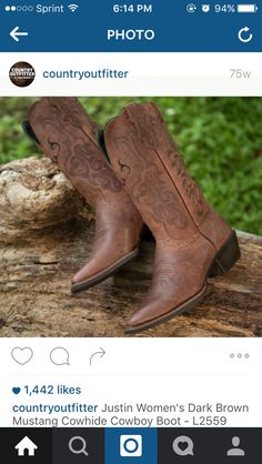 Justin s women s dark brown mustang cowhide cowboy boots 1c755df92