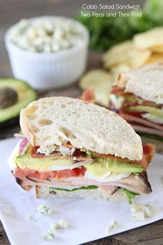 Cobb Salad Sandwich Recipe on twopeasandtheirpo. Use your leftover turkey to make this mighty sandwich! Salad Sandwich, Soup And Sandwich, Sandwich Recipes, Lunch Recipes, Cooking Recipes, Healthy Recipes, Muffuletta Sandwich, Sandwich Bar, Chicken Sandwich