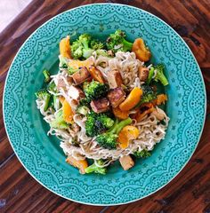 Tomatoes on the Vine: Spicy Ramen Stir Fry with Broccoli, Tofu, and Mandarin Oranges