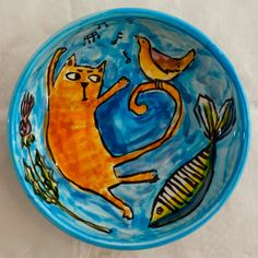 A Funky Scottish Life: Catch Me If You Can!   Playful, original ceramics in the 'Cats, Birds, Fish' collection from Karen Edward @ Funky Scottish.