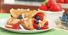 Paleo Coconut Crepes with Mixed Berries #recipe