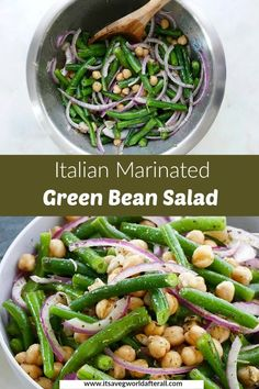 A cold green bean salad is the perfect summer potluck or cookout dish! This Marinated Green Bean Salad is a healthy, 15 minute side dish tossed in homemade Italian dressing. It's so fresh and delicious, and vegan and gluten free too. #sidedish #greenbeans #summer Vegetarian Salad Recipes, Healthy Vegetable Recipes, Homemade Italian Dressing, Green Bean Salads, Vegan Side Dishes, Potluck Dishes, Summer Potluck, Healthy Eating