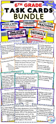 I use these task cards with my students to help them practice PROBLEMS SOLVING. This resource includes 5 sets of 6th Grade Common Core task cards (200 cards/40 cards per set), student answer sheets, and answer keys.   ✔ Decimals  ✔ Multiply and Divide Fractions  ✔ Fractions, Decimals, Percents  ✔ One-Step Equations  ✔ Ratios and Rates