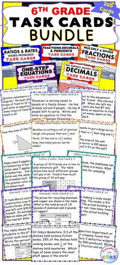6th Grade Math Common Core WORD PROBLEMS with Graphic Organizer ...