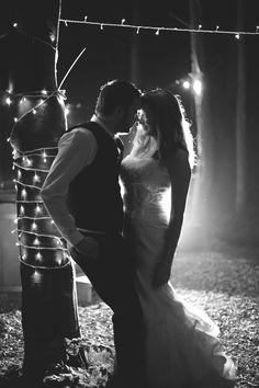 Night time wedding photography in a woods at Great Higham Barn near Doddington, Kent by Rebecca Douglas Photography, Fairy lights, Festoon Lights