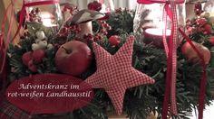 DIY - Adventskranz in Rot-Weiß I Landhausstil I Advents- und Weihnachtsd...