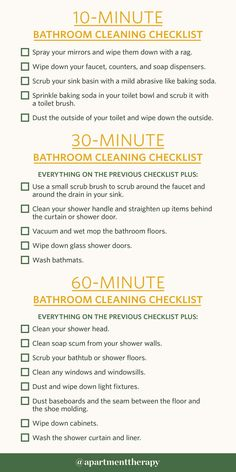 Here's How You Clean a Bathroom in 10 Minutes (or or if You've Got That Kind of Time) - Bathroom Cleaning Checklists for 10 Minutes, 30 Minutes, or 1 Hour Bathroom Cleaning Checklist, Household Cleaning Tips, House Cleaning Tips, Cleaning Kit, Diy Cleaning Products, Cleaning Solutions, Cleaning Routines, Weekly Cleaning, Apartment Cleaning Schedule