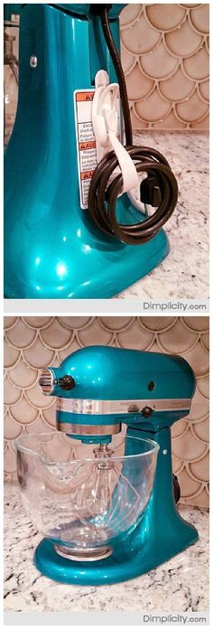 Easy Tip to Organize the Kitchen - Perfect cord storage idea for your KitchenAid and other appliances! Just use Command Hooks to store small appliance cords neatly right on the appliance itself!