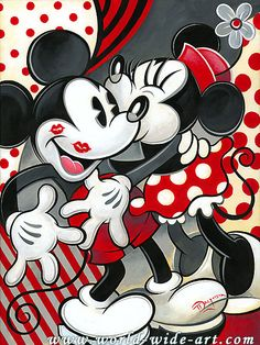 Mickey Mouse - Hugs and Kisses - Minnie - Original - Tim Rogerson - World-Wide-Art.com