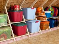 attic storage- The color-coded neatness of this makes me squeel with joy.