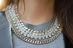 Lamprini chains and rhinestone necklace.