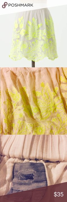 """Venessa Virginia Electric Vines Skirt Sz 10 Highlighter blooms sweep across Vanessa Virginia's gauzy cotton mini. From Anthropologie. Good used condition. From smoke free pet free closet. Perfect for spring and summer for a pop of color!   Pull-on styling Cotton; cotton lining Hand wash 18""""L Imported Style No. 24486227 Anthropologie Skirts"""