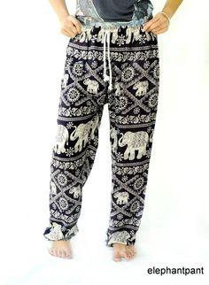 Harem pants/boho pant gorgeous Black Elephant pattern one size fits all handmade for women  Boho Hippie Gypsy Loose from Elephantpant on Etsy