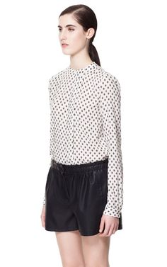 PRINTED BLOUSE - Tops - Woman - Sale   ZARA United States Size Large