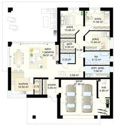 Bagatela 8 G2 projekt - Parter 130.91 m²  + garaż 37.92 m² + kotłownia 4.98 m² Modern Bungalow House, Bungalow House Plans, Dream House Plans, Modern House Design, House Floor Plans, Home Design Decor, Door Design, Kitchen Island Bench, House Entrance