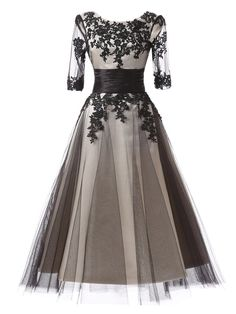 evening gown on sale at reasonable prices, buy New Arrival Mother Of The Bride Dress Women Formal Evening Gowns Grey Elegant Tea Length Half Sleeve Evening Dresses 2018 from mobile site on Aliexpress Now! Cheap Cocktail Dresses, Cocktail Dresses Online, Beautiful Party Dresses, Elegant Dresses, Formal Dresses, Formal Prom, Formal Wedding, Formal Wear, Prom Dresses With Sleeves