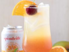 Top it off: Spindrift Cocktails & Mocktails Volume III Strawberry Bellini, Strawberry Recipes, Cocktails For Parties, Cocktail Drinks, Tequila Sunrise Ingredients, Liquid Luck, Bourbon Cherries, Pomegranate Juice, Orange Recipes