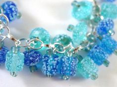 Frosted Blue and Turquoise Glass Charm Bracelet by Pookledo, £12.00