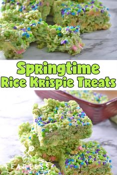 Chewy, gooey, and just a little crunchy. These Slow Cooker Springtime Rice Krispie Treats are easy to make with your kids. The green treats are so much fun to eat, kids and adults will love them! Easy Easter Desserts, Easter Recipes, Easter Food, Spring Recipes, Milk Recipes, Dessert Recipes, Picnic Recipes, Egg Recipes, Recipes Dinner
