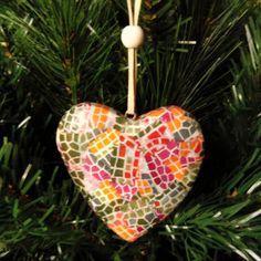 Mosaic Christmas Heart Ornament Decoration by TopFloorTreasures, $9.50