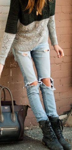 Distressed denim + combats + cozy sweater.