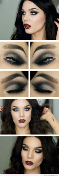 Linda Hallberg dark lips and eye makeup
