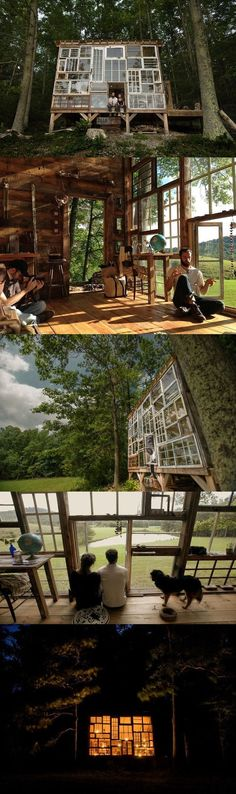Located in the mountains of West Virginia, photographer Nick Olson and designer Lilah Horwitz have built their own enchanting retreat made out of discarded windows. The towering home away from home boasts a creative facade (. Cabin In The Woods, House Windows, Wall Of Windows, Cottage Windows, House Built, Cabana, My Dream Home, Future House, Tiny Homes