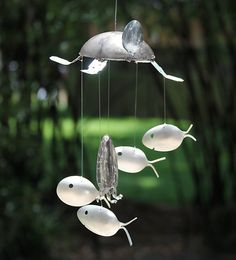 Sea Creatures Wind Chime, Ladle Turtle, Spoon Fish, and Upcycled Octopus