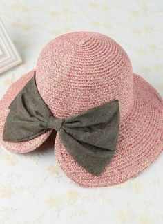 640f982b23b Bowknot Large Rolled Brim Foldable Summer Straw Hat Stylish Hats