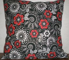 18X18 White Black and Red Decorative Pillow by AbbeyDoodleDesigns, $22.00