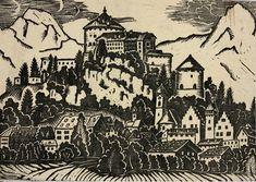 Schwärzler A.K., grosser Holzschnitt auf Leinen, 500x700mm, Google Images, The Originals, Woodblock Print, Linen Fabric
