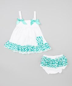 Look what I found on #zulily! White & Teal Chevron Ruffle Swing Top & Diaper Cover - Infant by Baby Gem #zulilyfinds