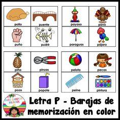 Letra P - cartas de vocabulario en color para imprimir en casa. Ideal para trabajos de aula. El paquete incluye las silabas pa pe pi po pu. Nivel preescolar y kindergarten. Abecedario, alfabeto