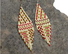 Beaded earrings & necklaces, Jewelry displays & stands by HandMadeBySnigurska Brown Earrings, Tribal Earrings, Seed Bead Earrings, Polymer Clay Earrings, Beaded Earrings, Banks, Native American Earrings, Bead Jewellery, Summer Jewelry