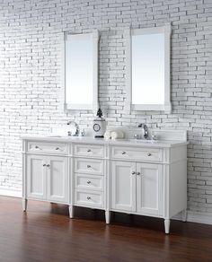 "Brittany 72"" Cottage white Bathroom Vanity James Martin"